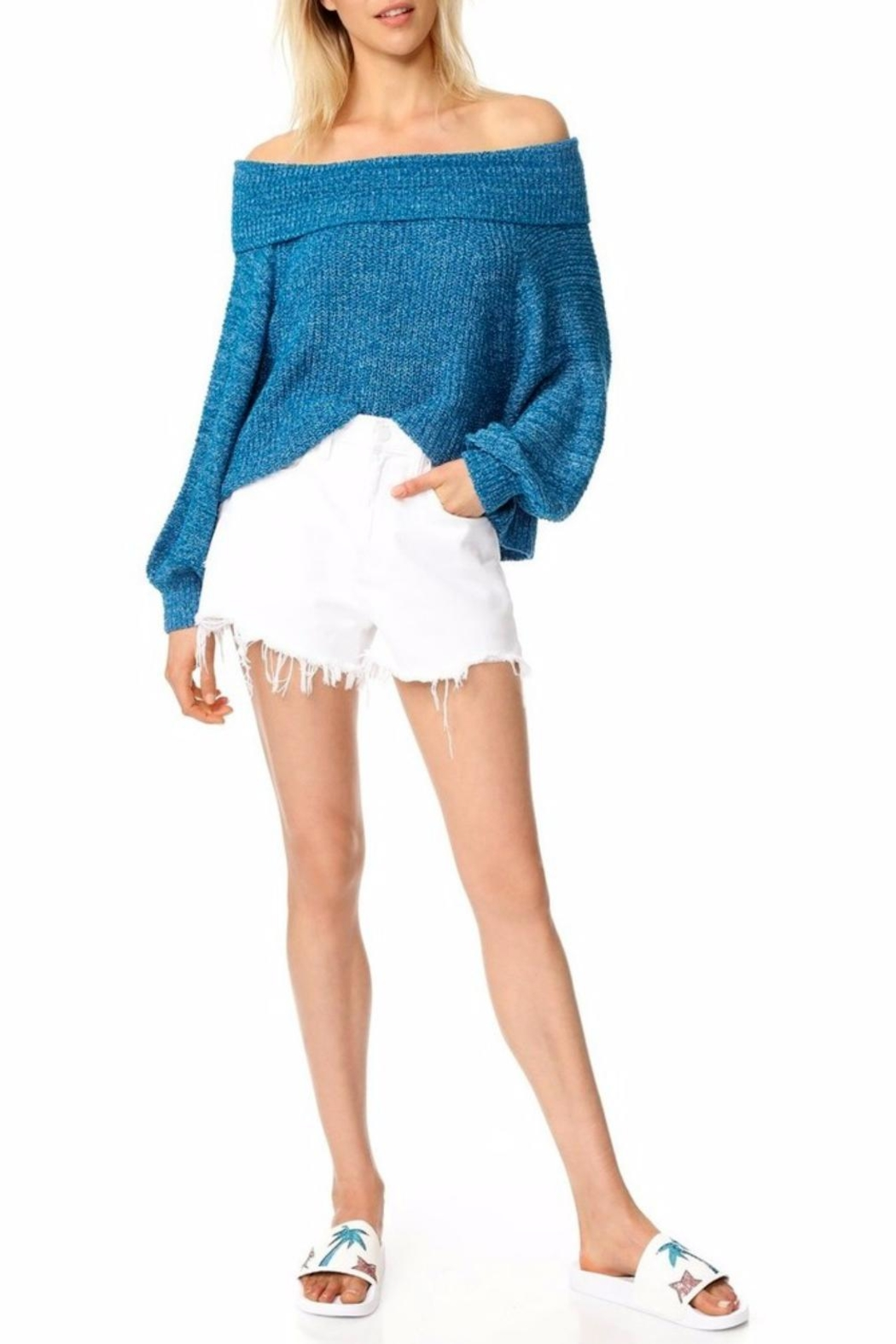 Free People Blue Off Shoulder Top - Front Cropped Image