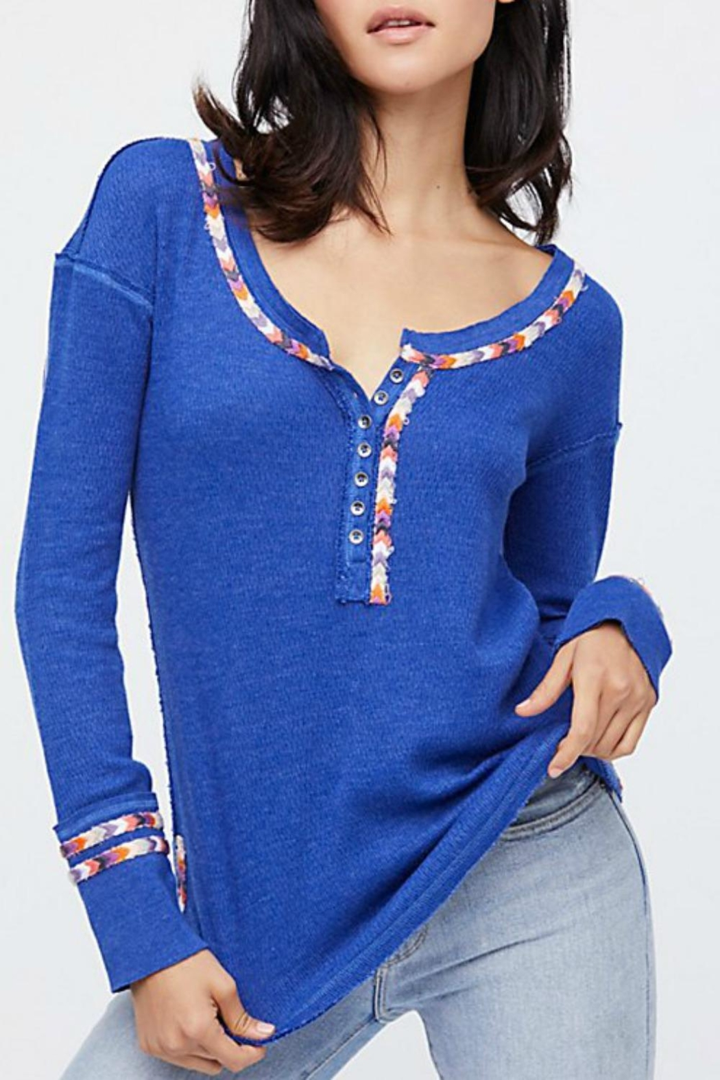 Free People Blue Rainbow Thermal - Front Cropped Image