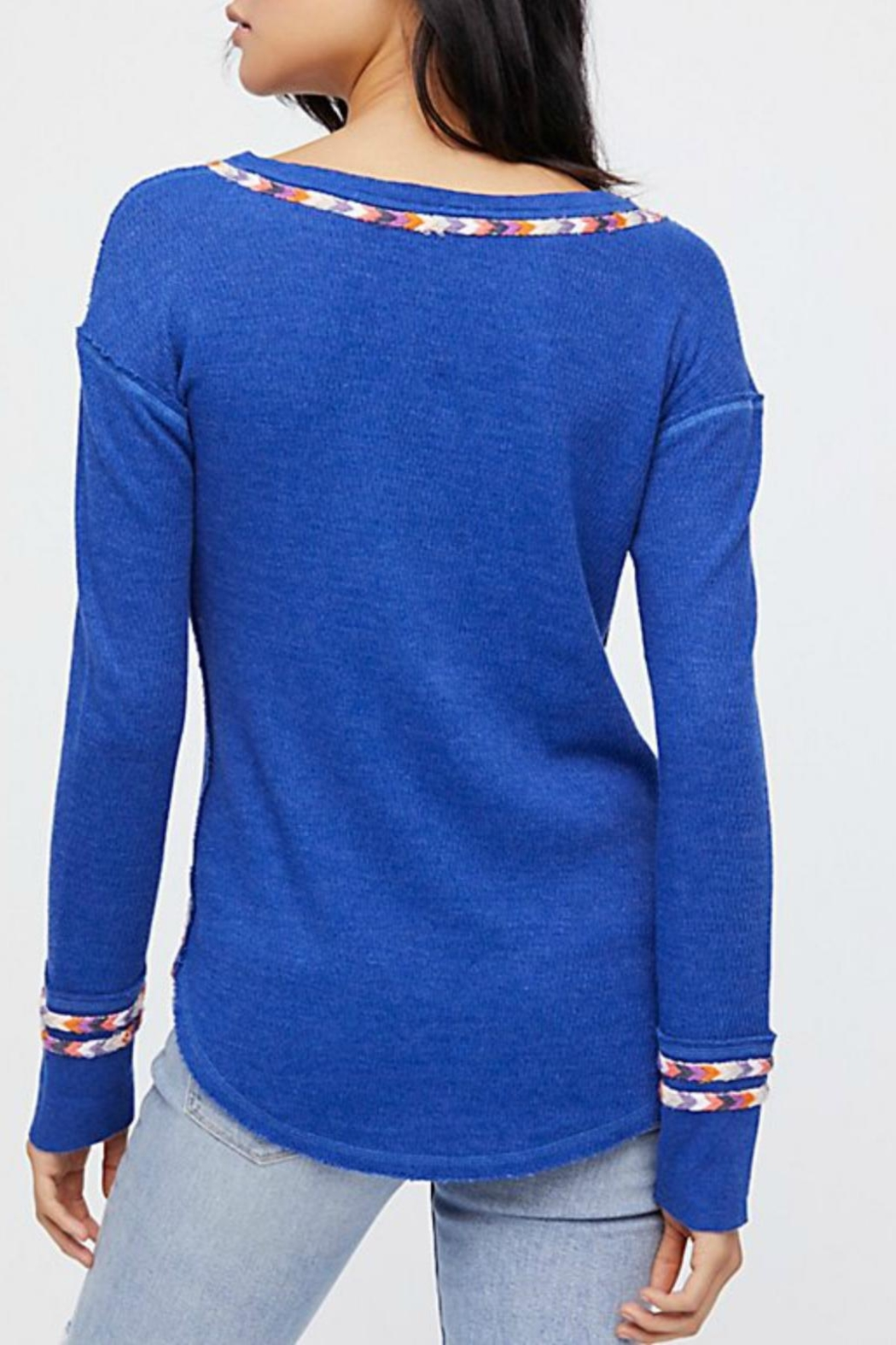 Free People Blue Rainbow Thermal - Front Full Image