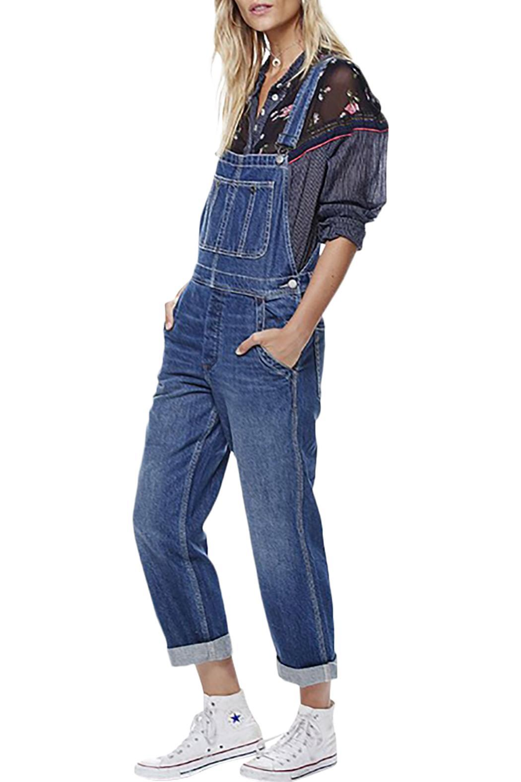 Free People Boyfriend Denim Overalls - Front Cropped Image