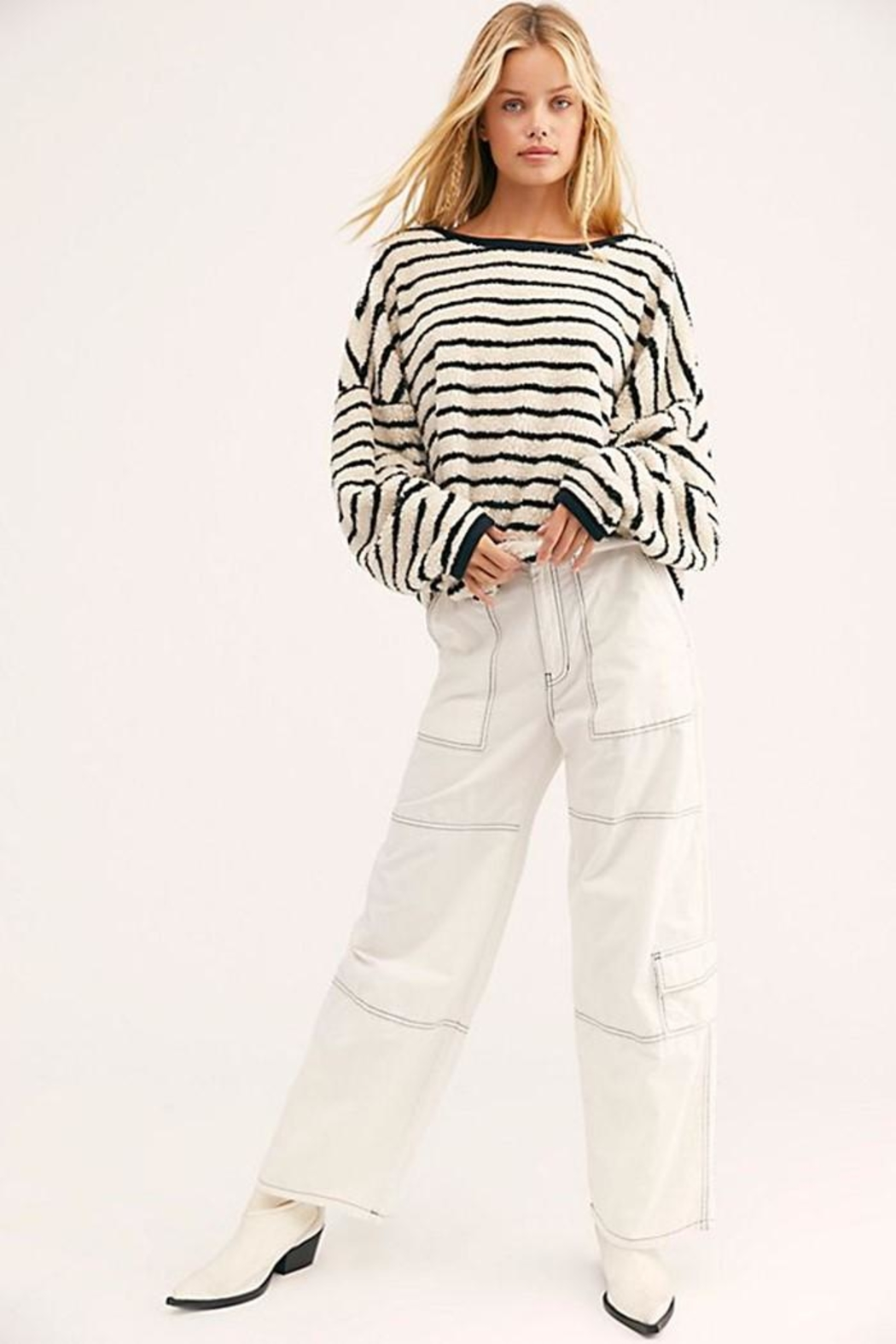 Free People Breton Striped Pullover - Back Cropped Image