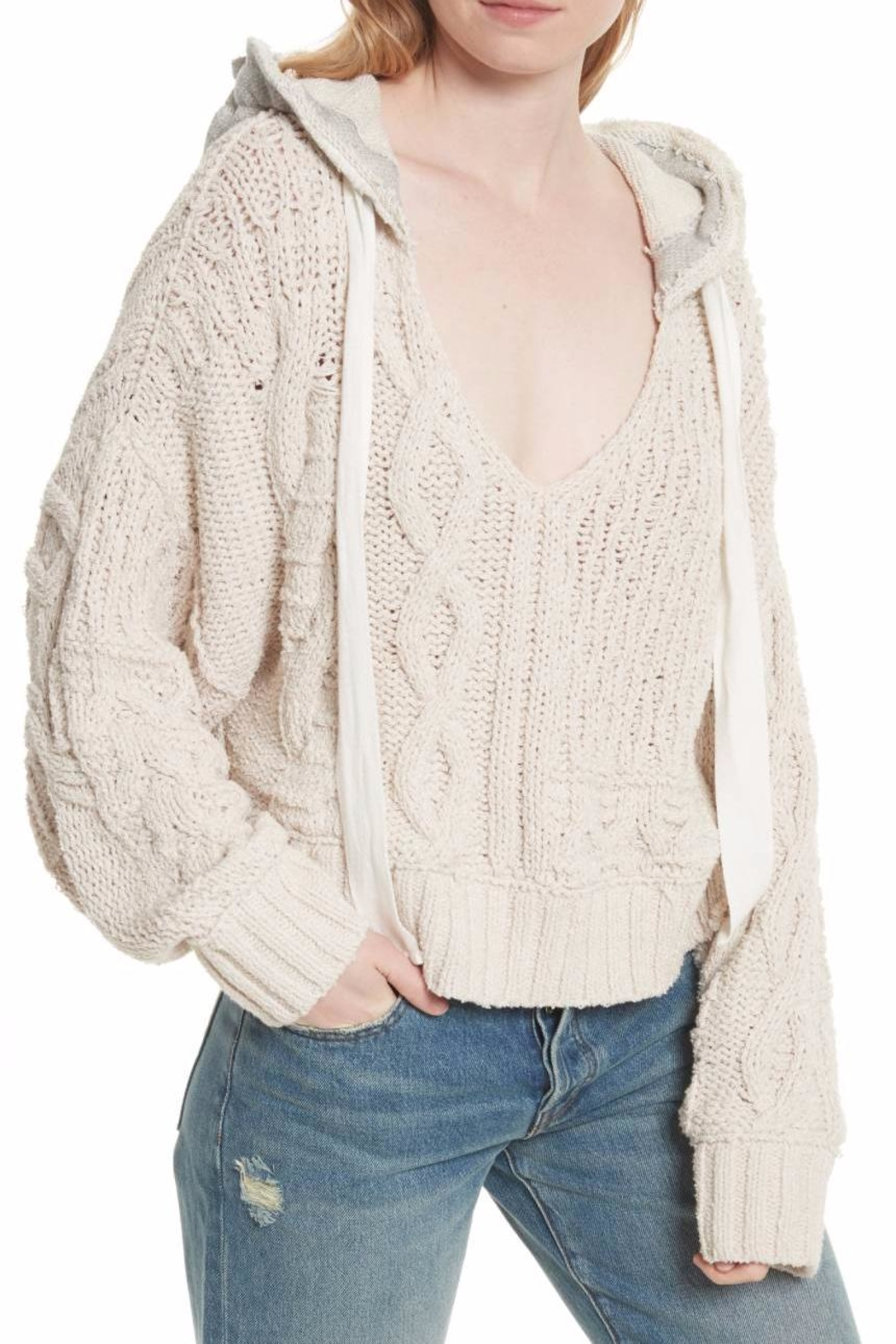 Free People Cable Knit Hoodie - Front Full Image