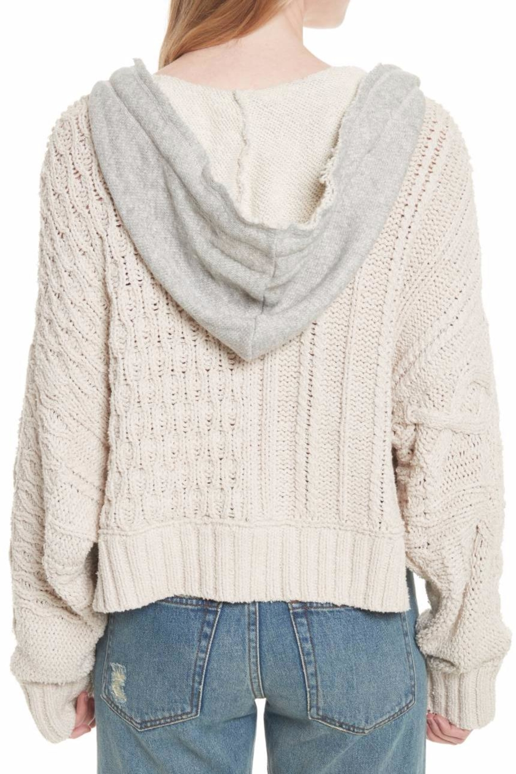 Free People Cable Knit Hoodie - Back Cropped Image