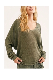 Free People Comfy Green Thermal - Front cropped