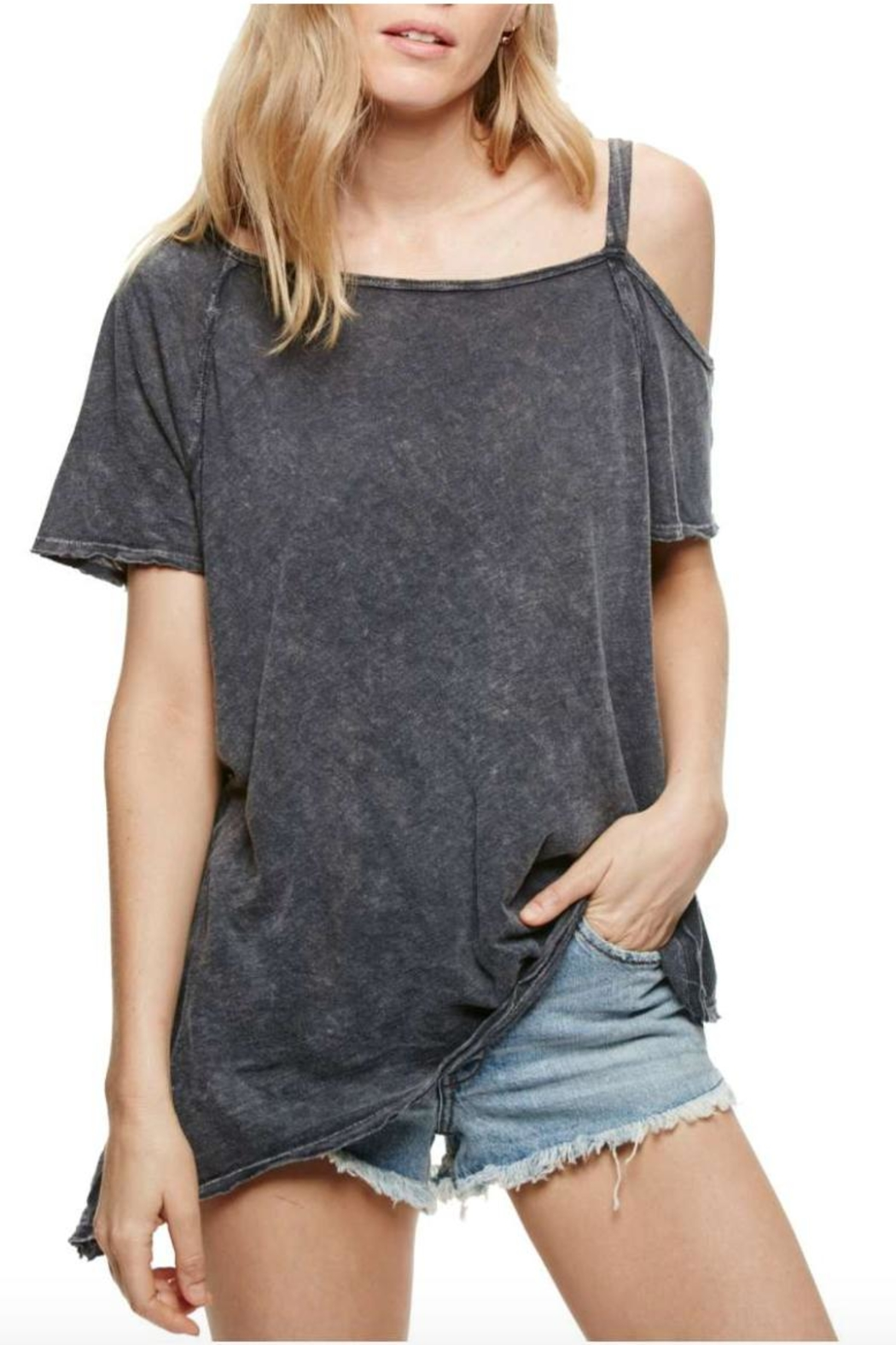 Free People Cut Out Washed Tee - Main Image