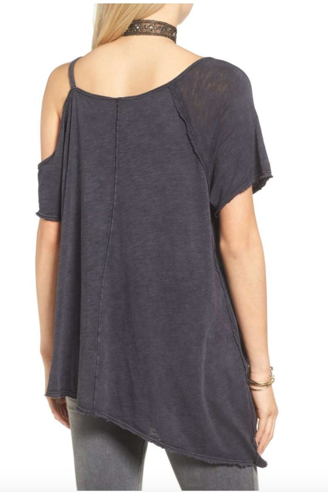 Free People Cut Out Washed Tee - Front Full Image