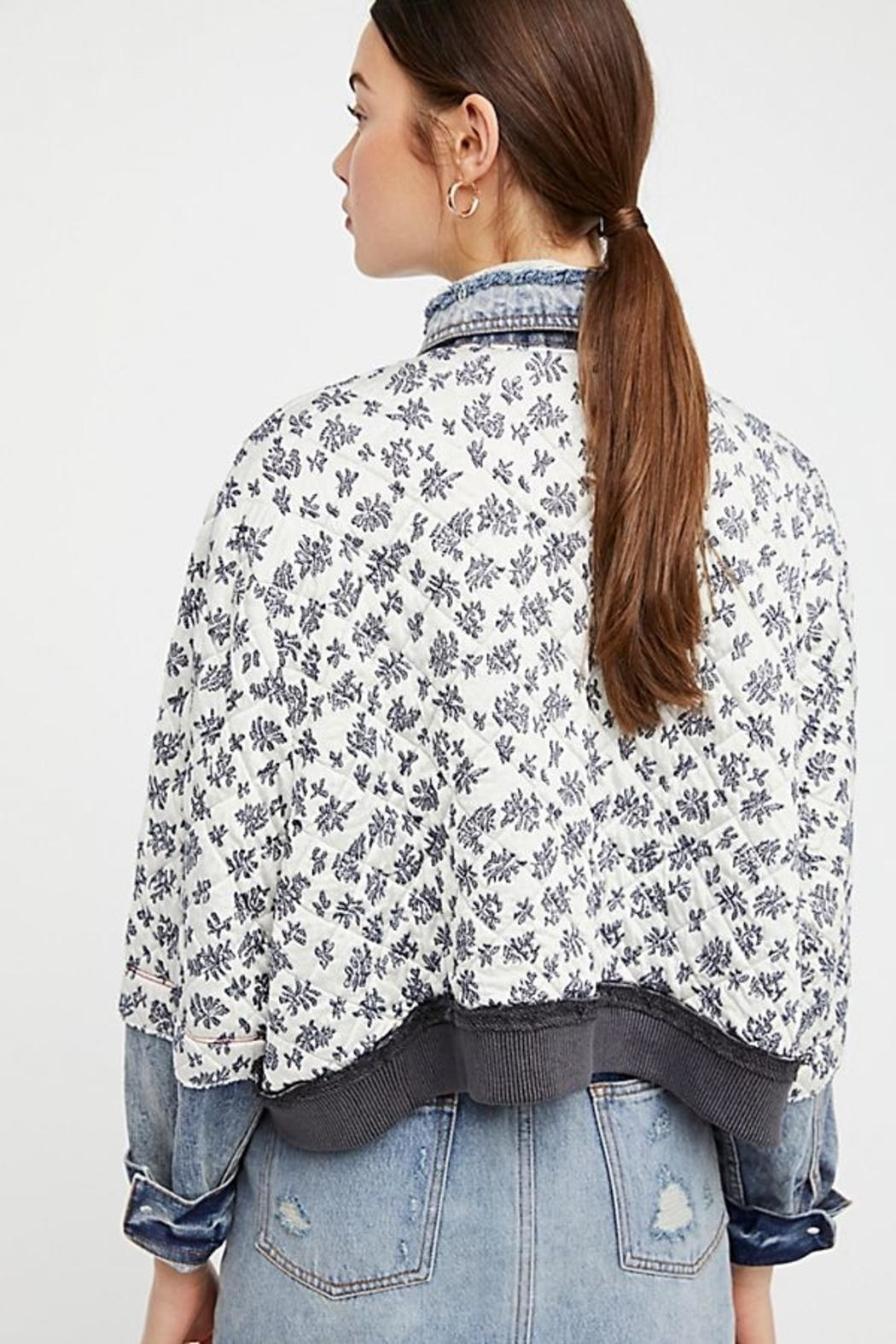 Free People Ditsy Denim Jacket - Side Cropped Image