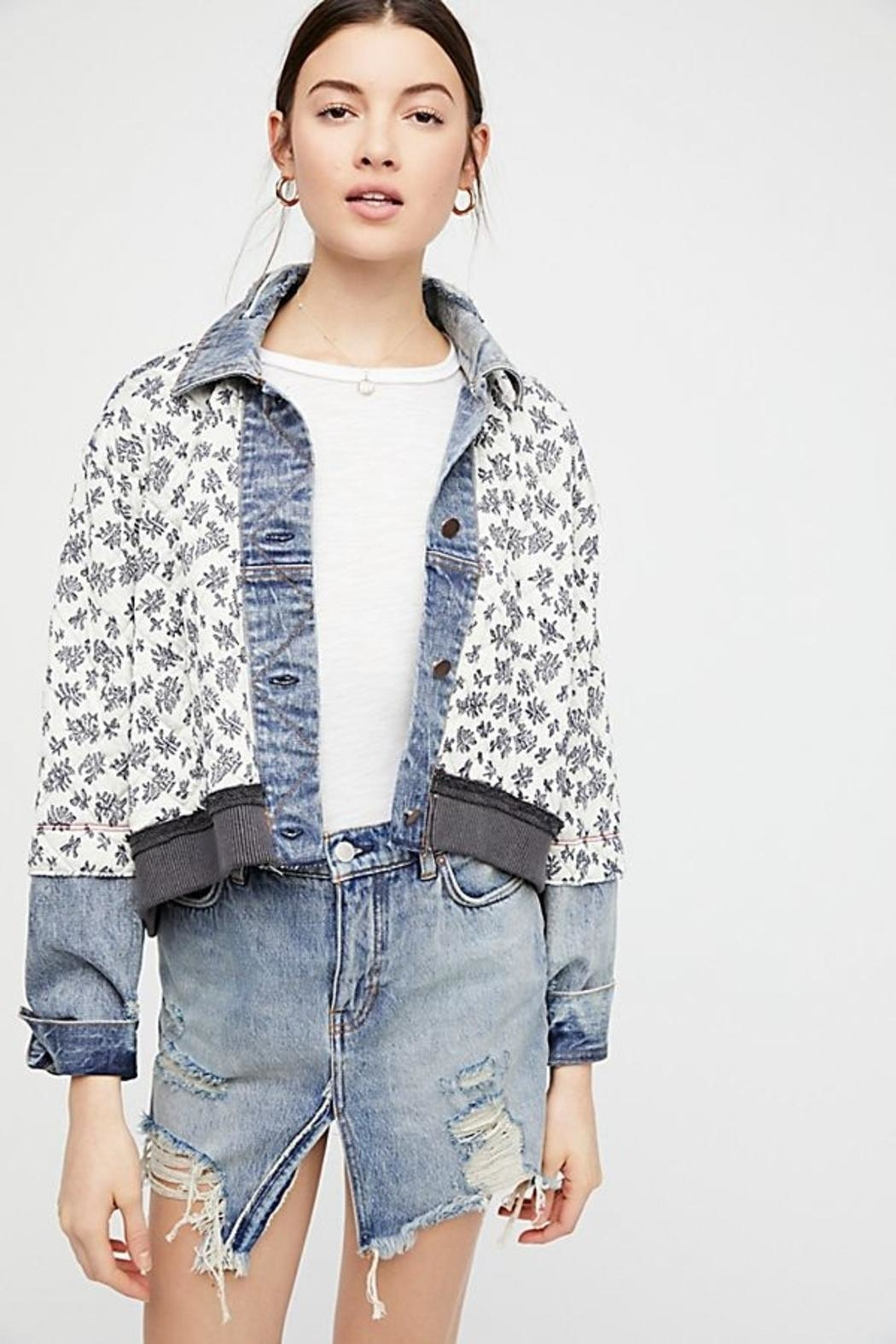 Free People Ditsy Denim Jacket - Front Full Image