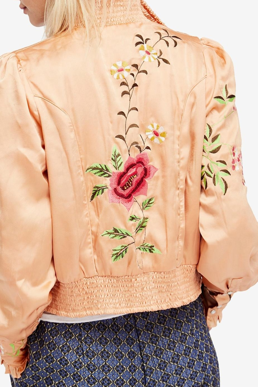 Free People Embroidered Cropped Bomber - Front Full Image