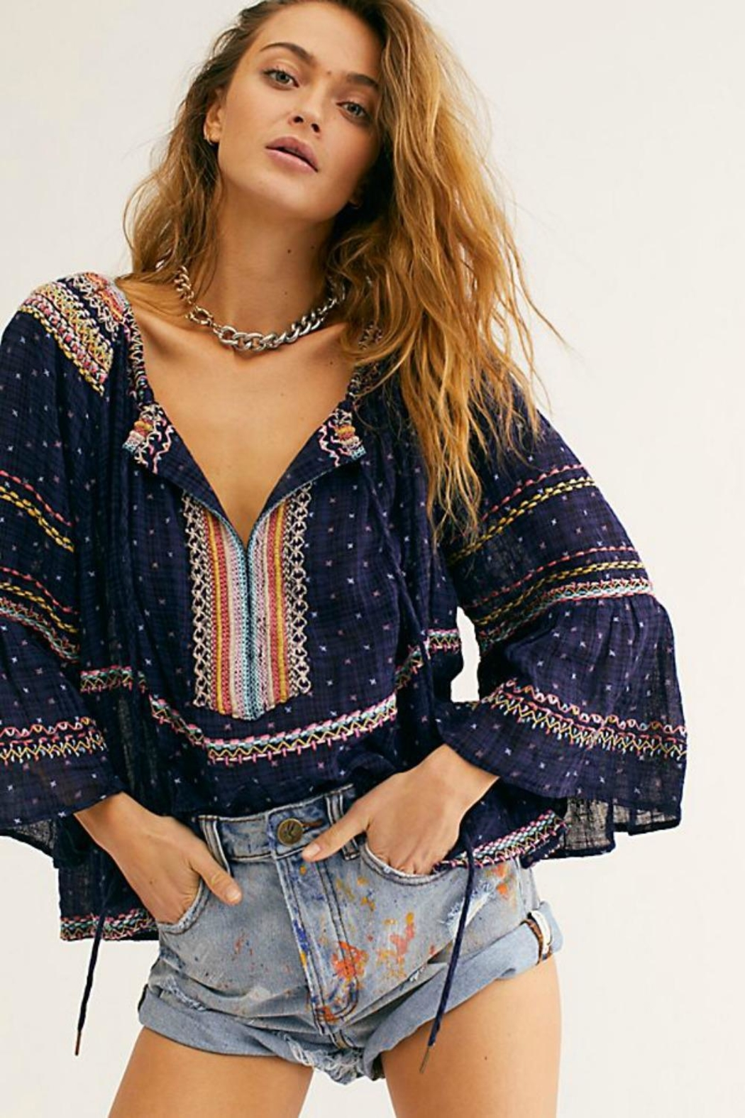 Free People Embroidered Navy Blouse - Main Image