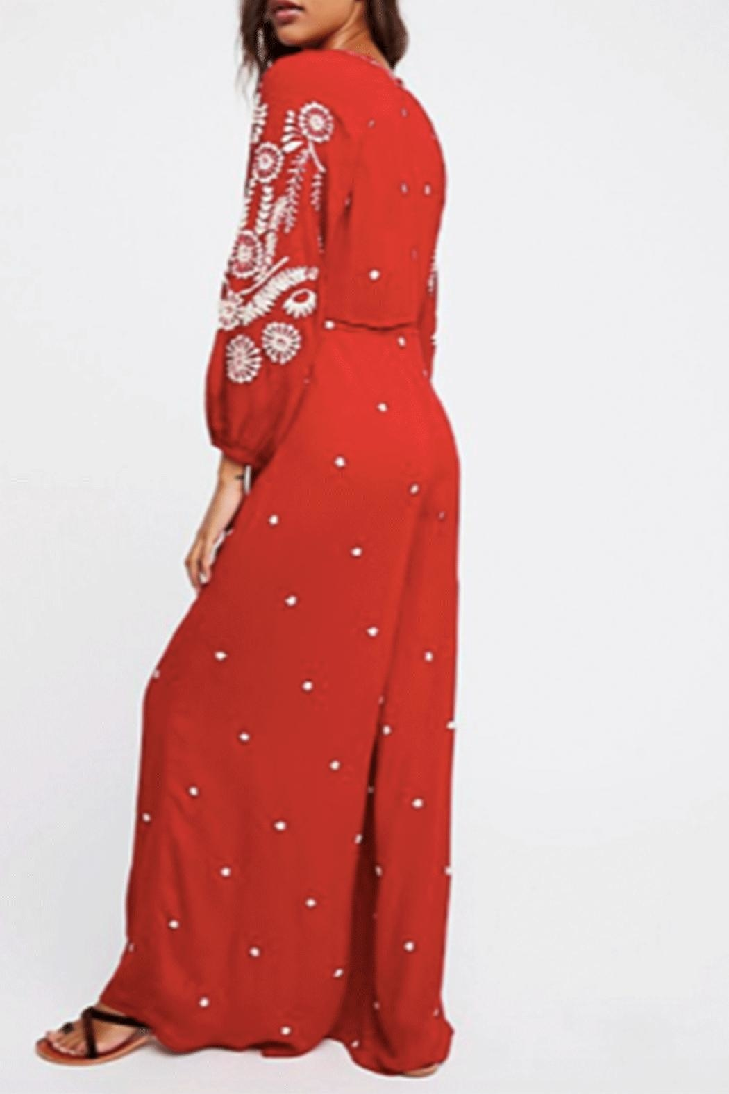 Free People Embroidered V Jumpsuit - Front Full Image