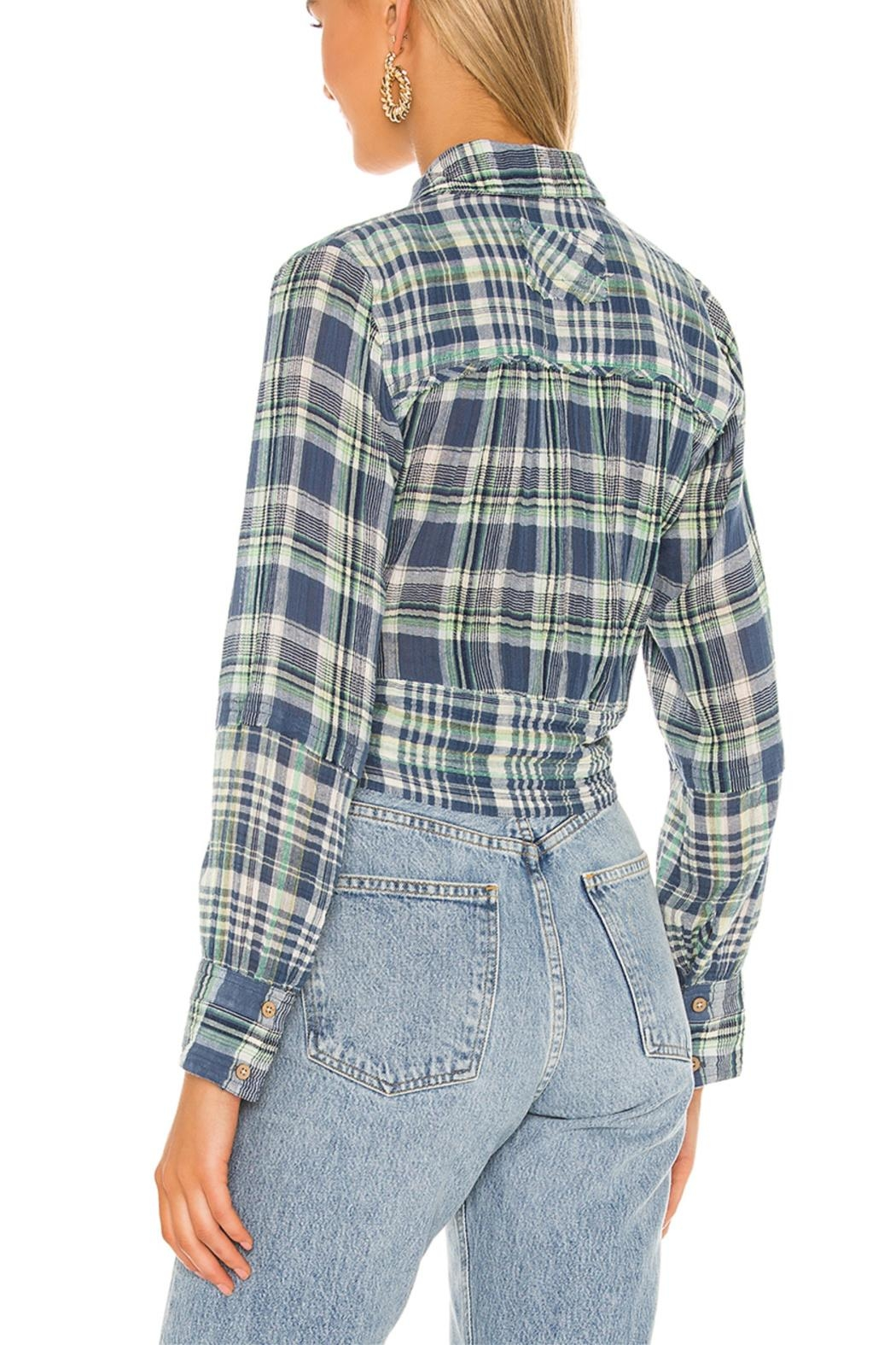 Free People First Bloom Plaid Top - Front Full Image