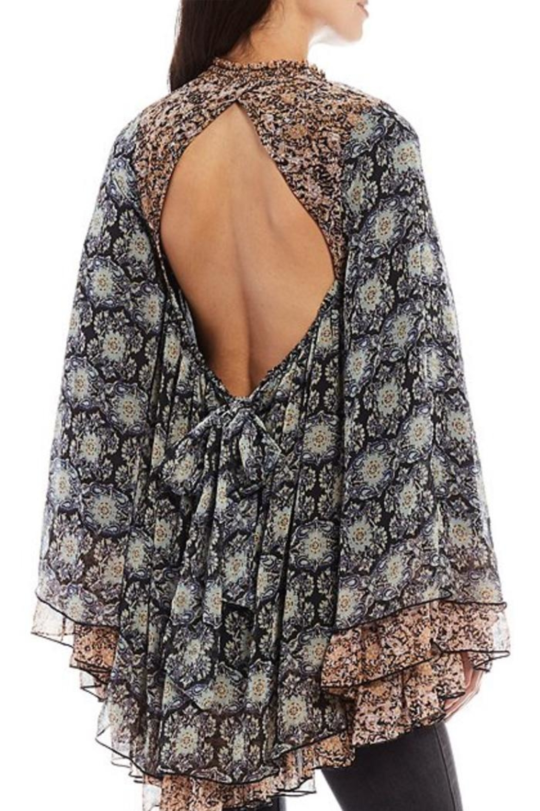 Free People Floral Flowy Tunic - Front Full Image