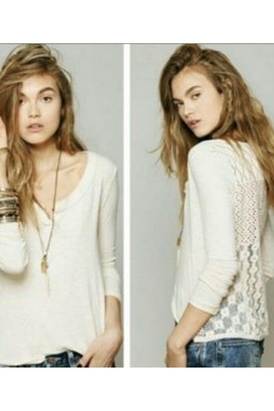 Free People Cream Cotton Lacy Back Top Long Sleeve - Main Image