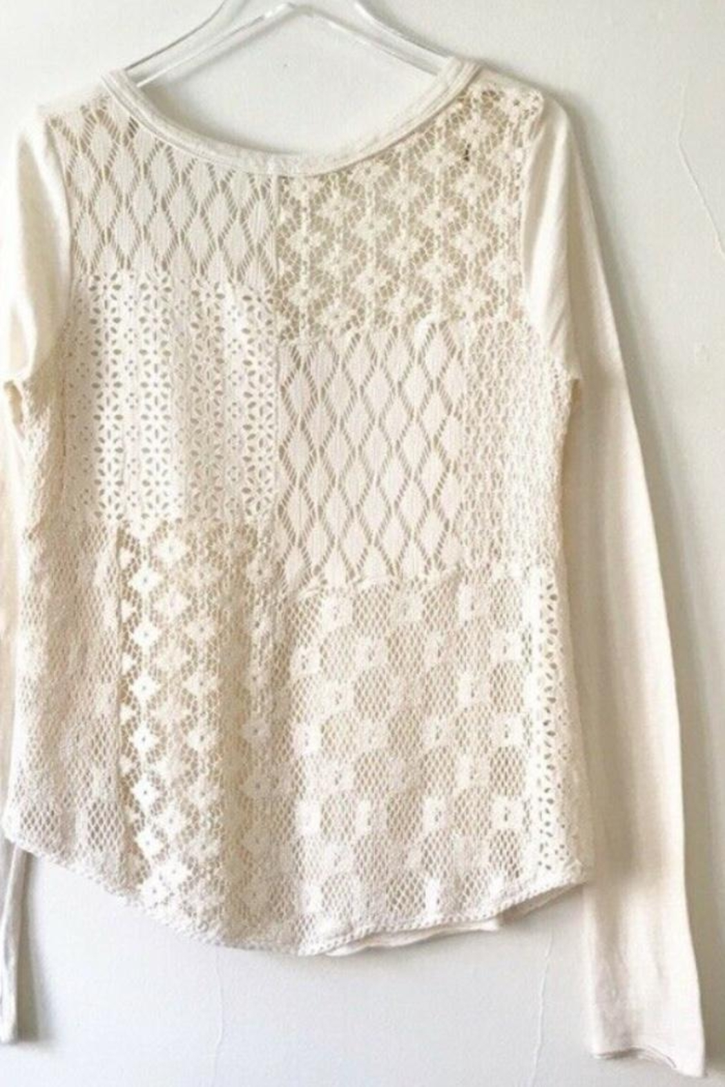 Free People Cream Cotton Lacy Back Top Long Sleeve - Front Full Image