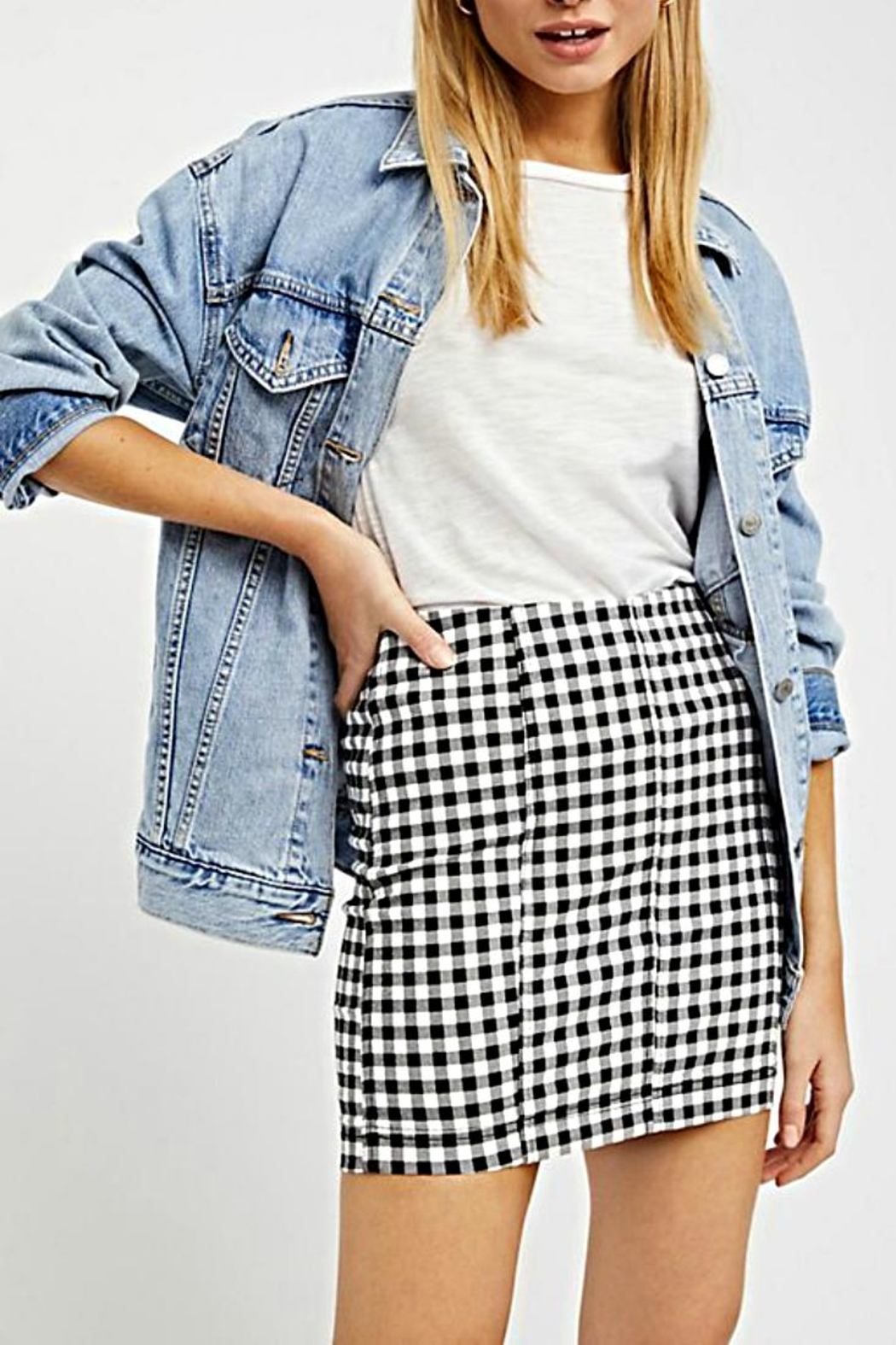 Free People Gingham Skirt - Back Cropped Image