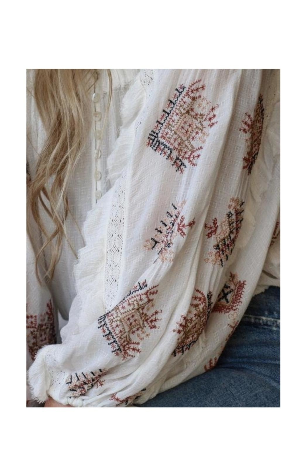 Free People Ivory Embroidered Top - Front Full Image