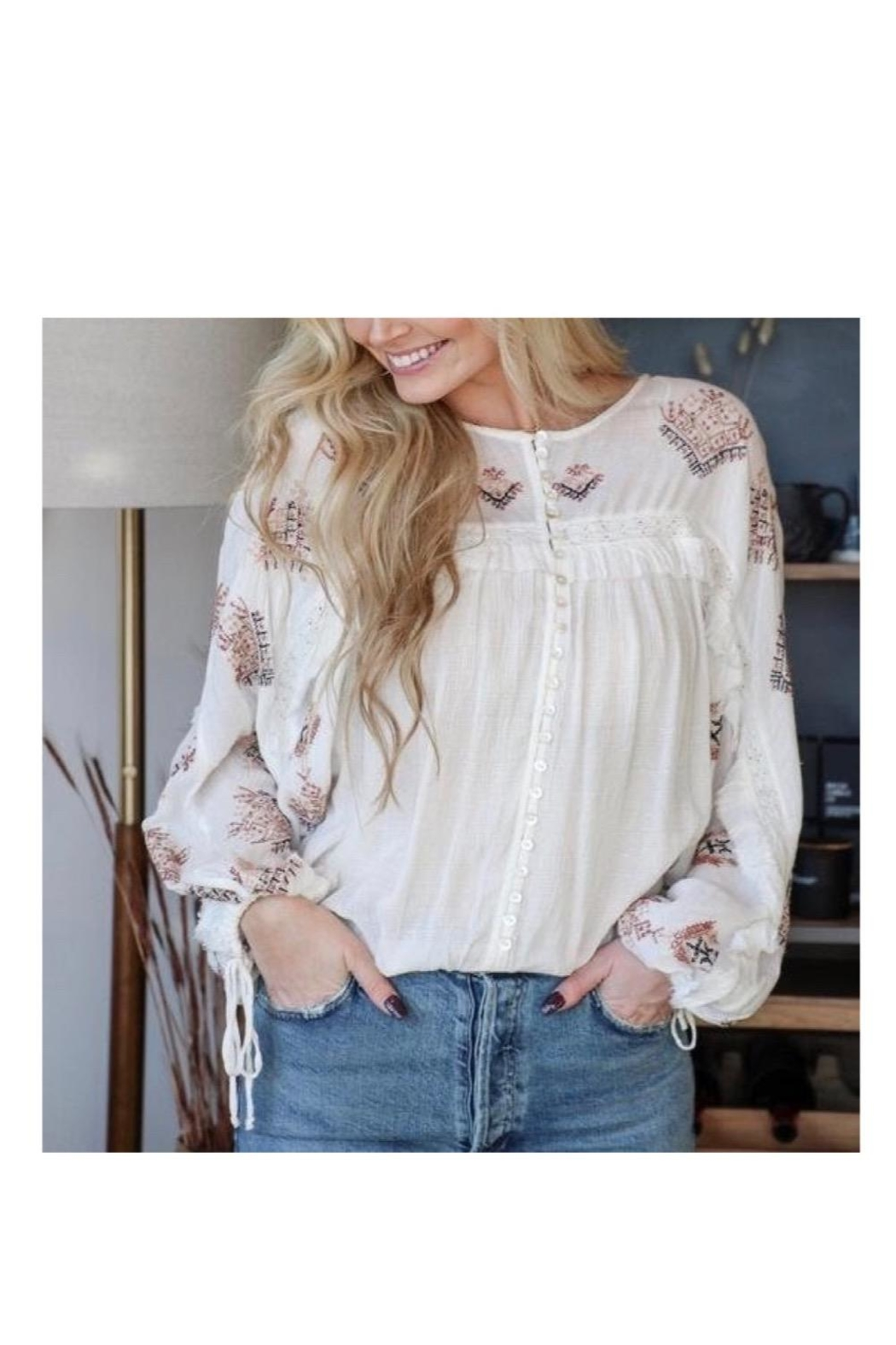 Free People Ivory Embroidered Top - Main Image