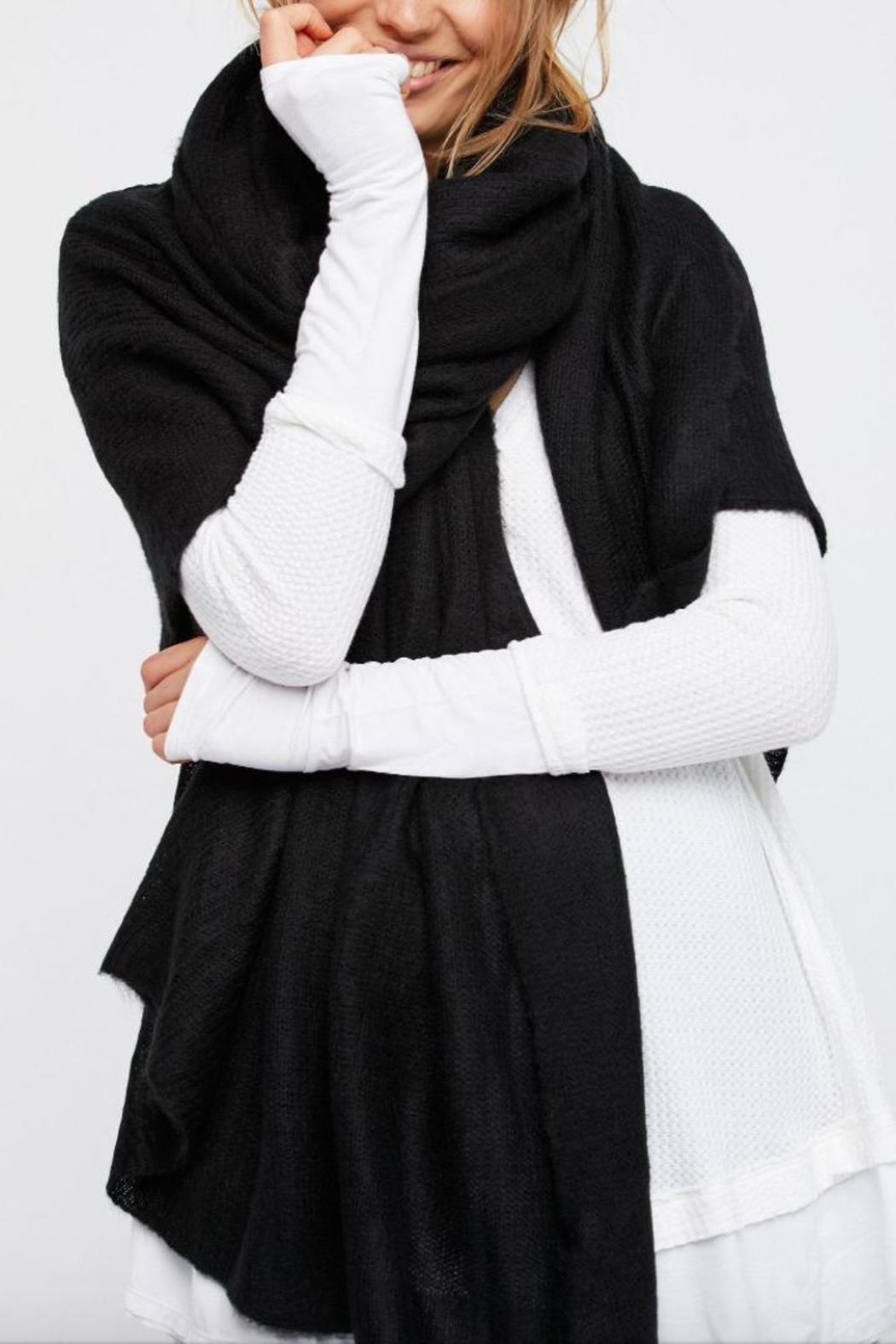 Free People Kennedy Waffle Scarf - Front Full Image