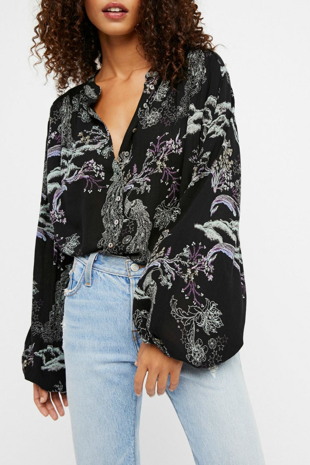 Free People Metallic Bloom Printed Top - Front Cropped Image
