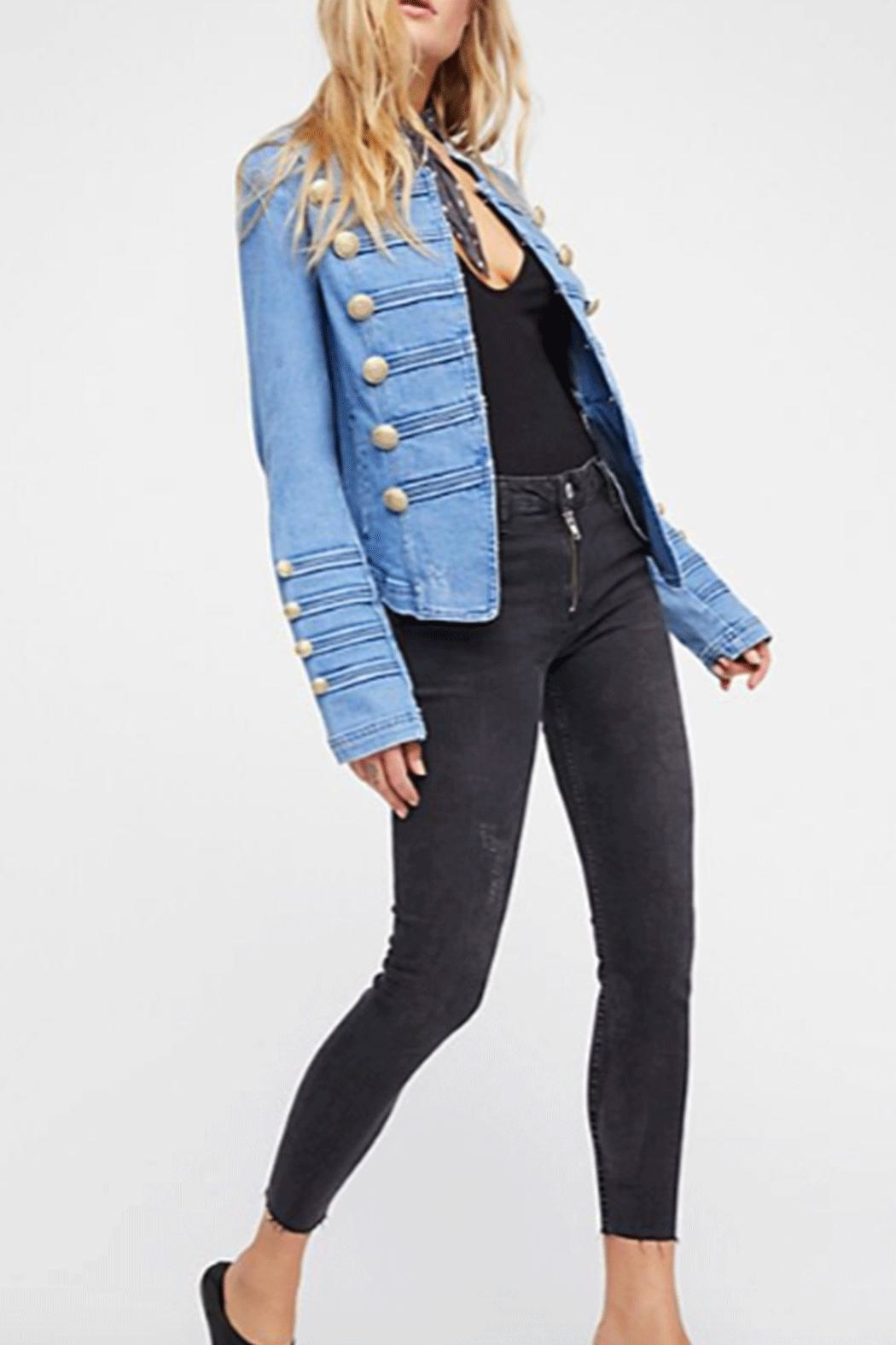 Free People Military Denim Jacket - Front Full Image