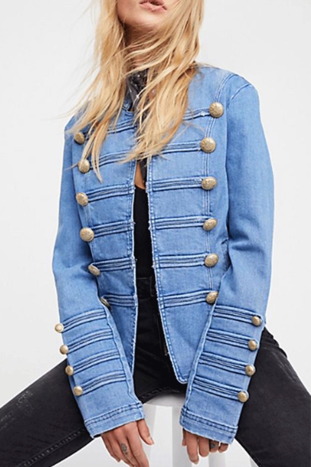 Free People Military Denim Jacket - Front Cropped Image