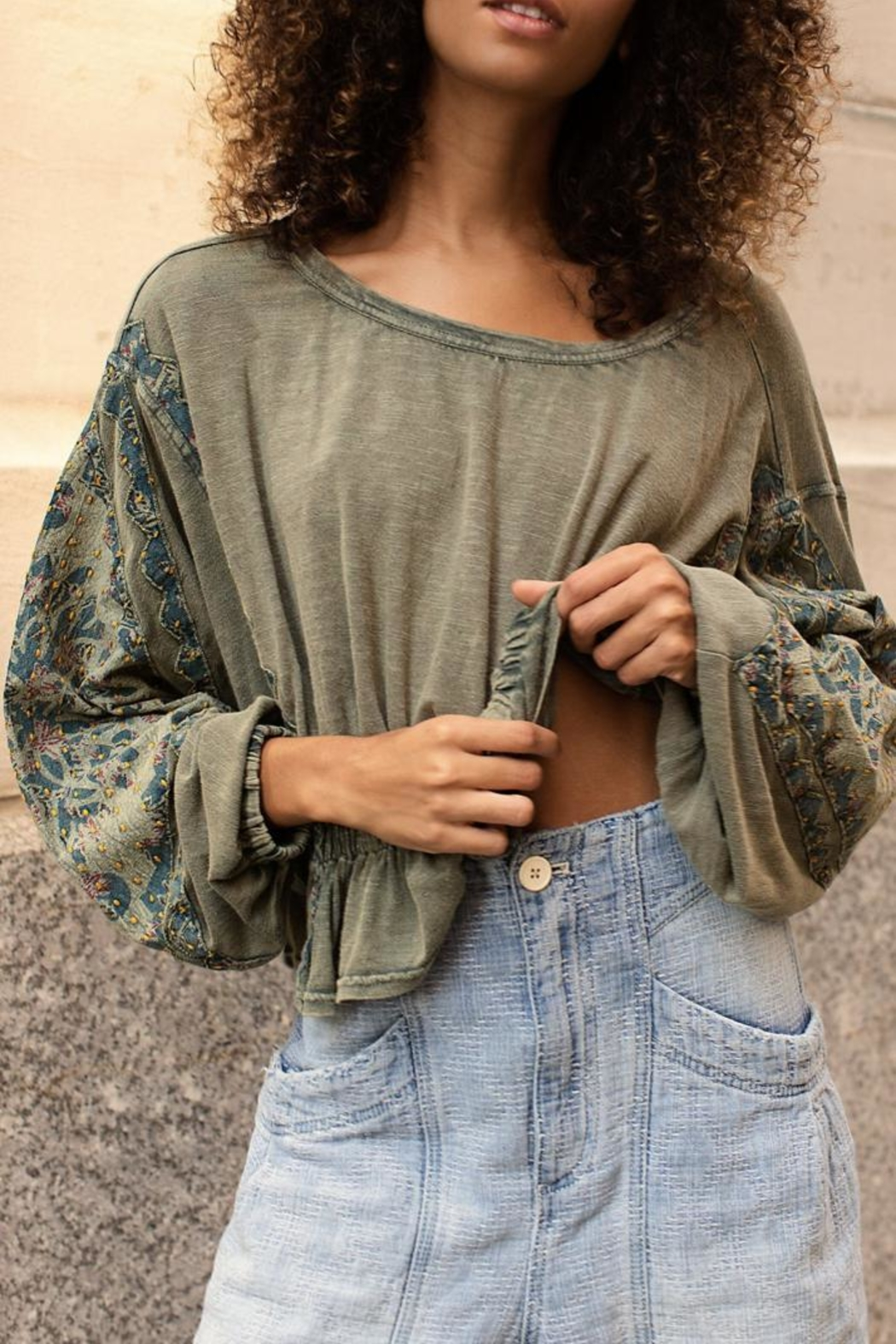 Free People Olive Tunic Top - Side Cropped Image