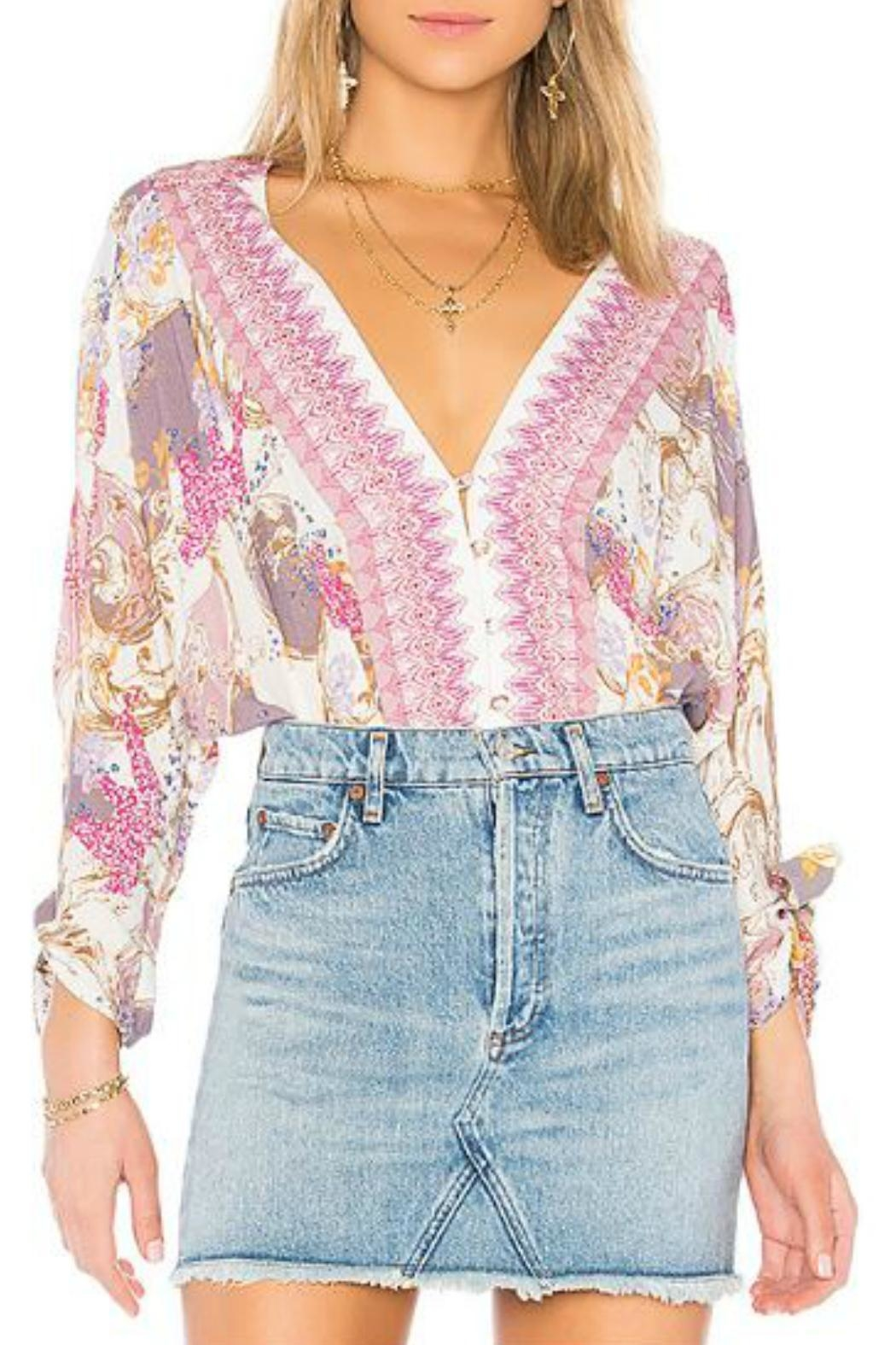 Free People Patterned Button-Front Blouse - Main Image