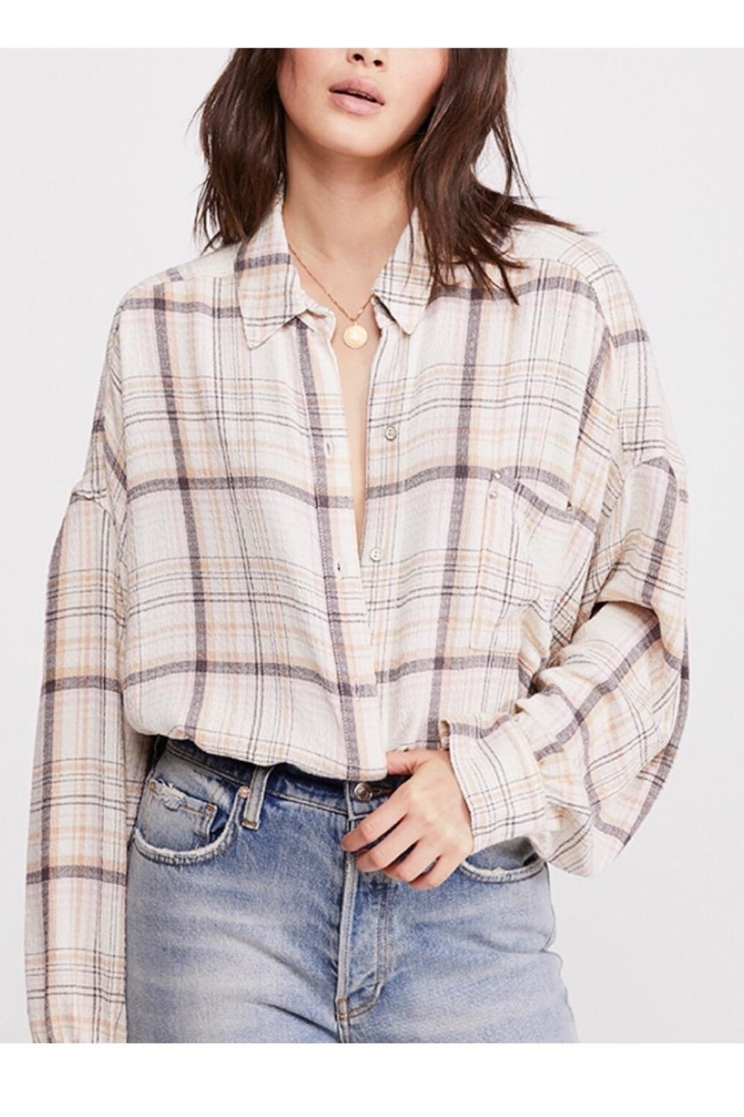 Free People Plaid Buttondown Top - Main Image