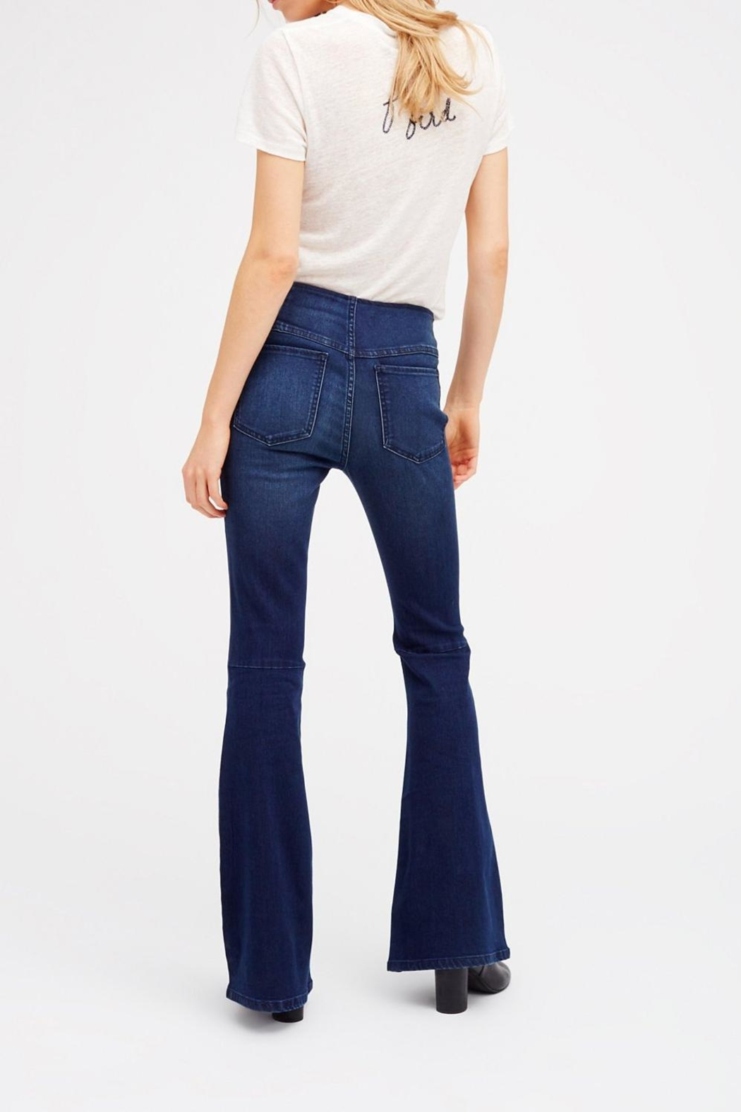 Free People Pull On Flare Jeans - Front Full Image