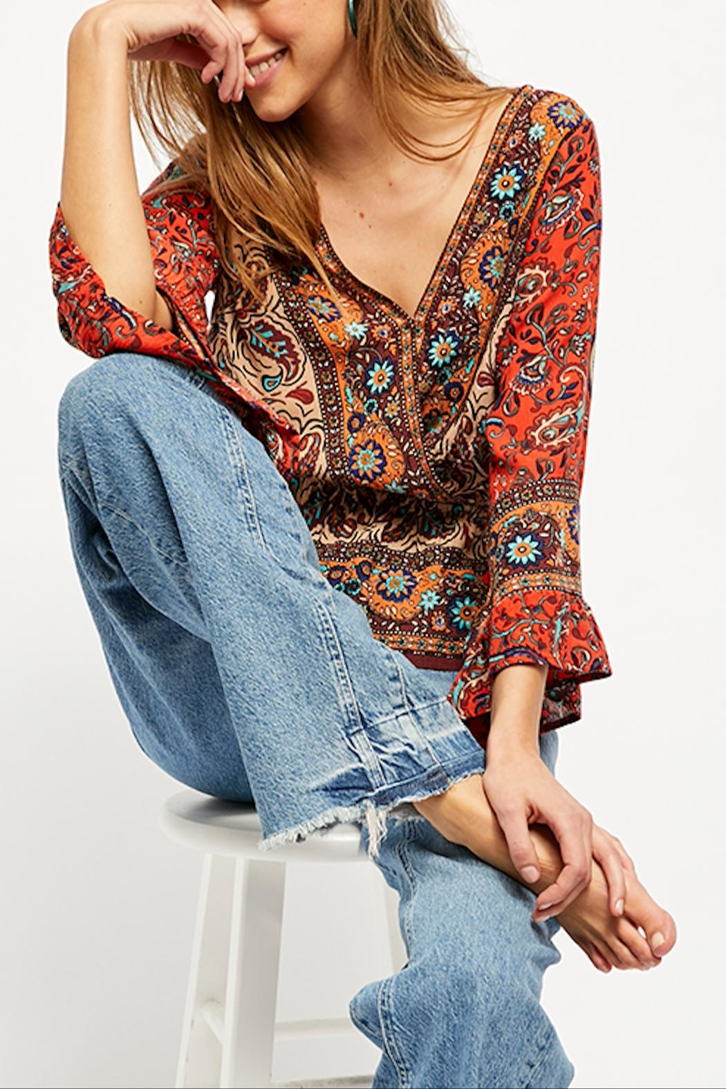 Free People Rosalie Wrap Top - Front Full Image