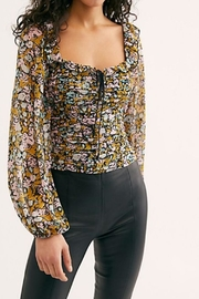 Free People Ruched Printed Blouse - Product Mini Image