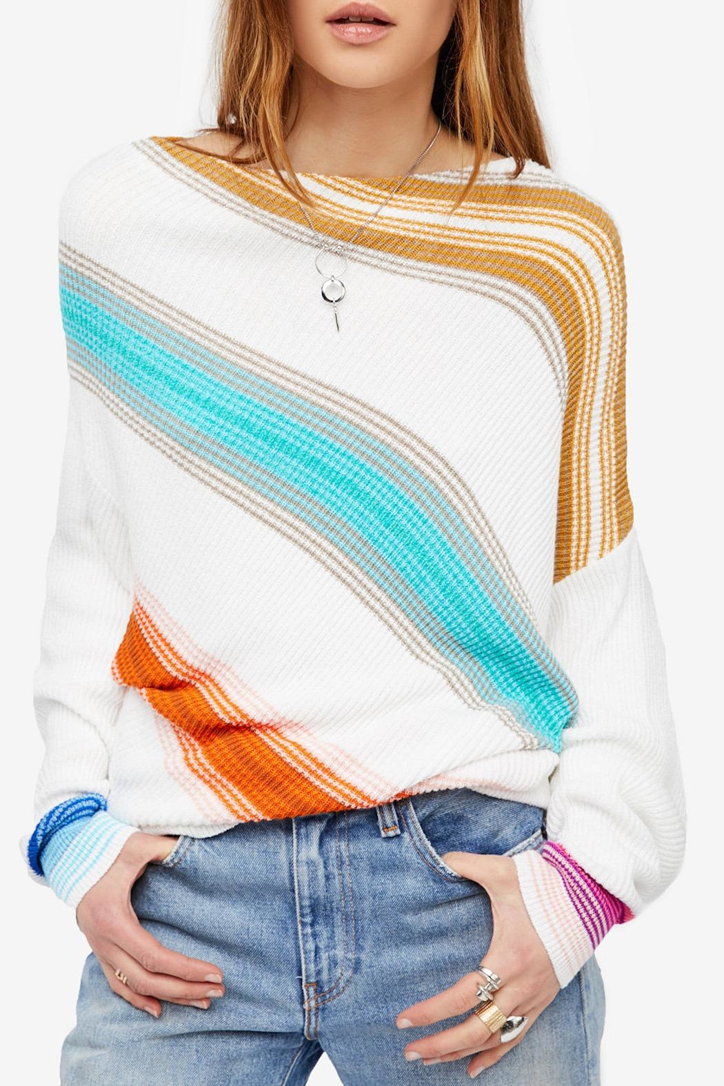 Free People Spectrum Stripe Sweater From Golden By Truly