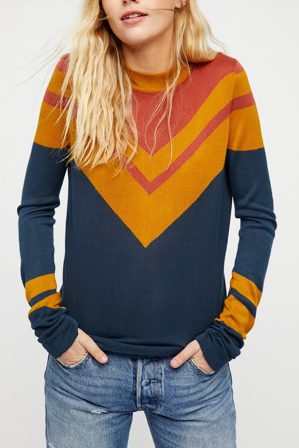 Free People Stripes Crew Sweater - Main Image