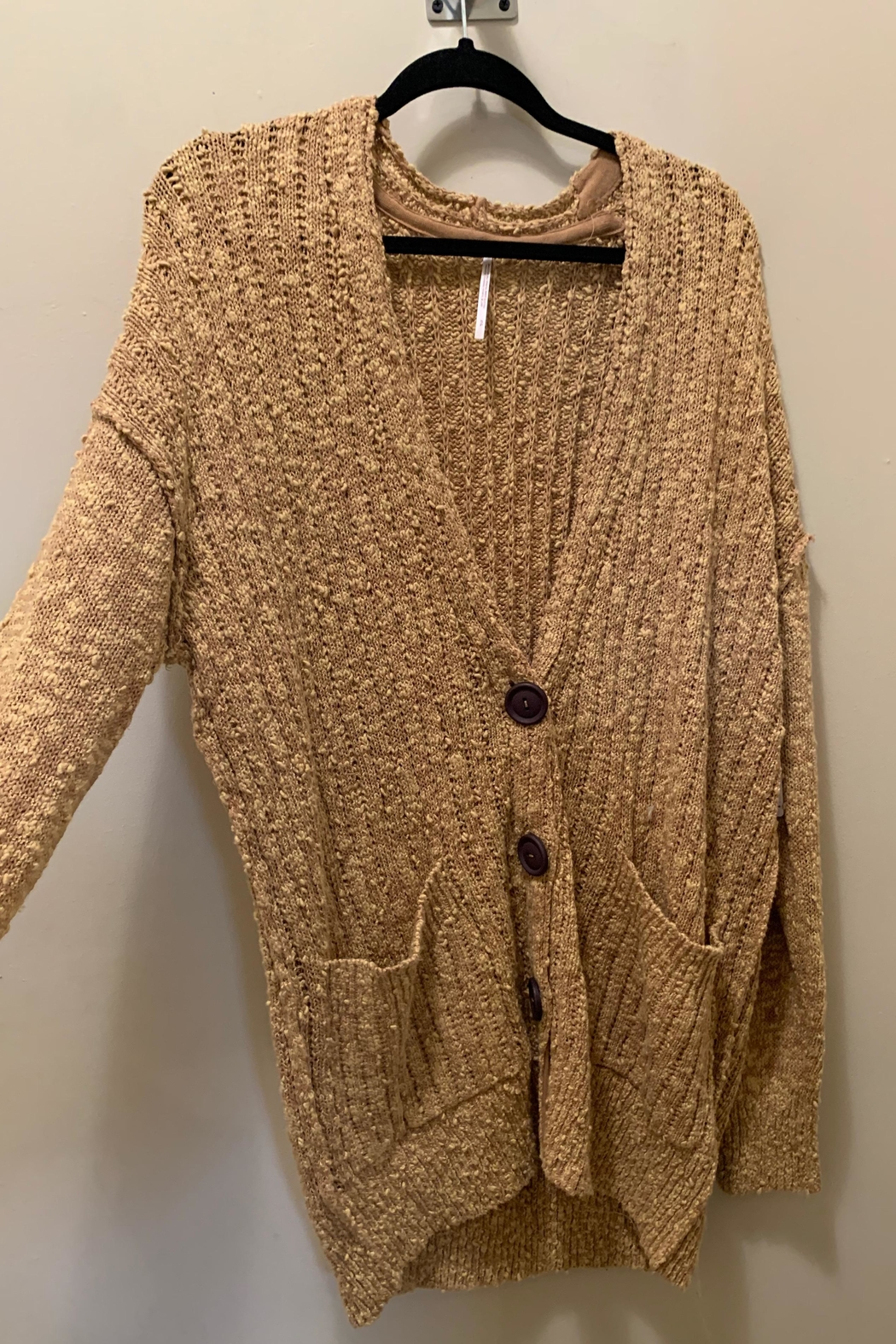 Free People Tan Cardigan - Front Cropped Image