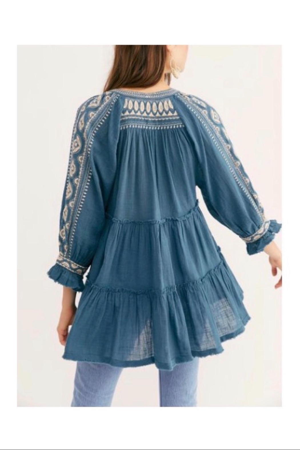 Free People Teal Tunic/dress - Front Full Image