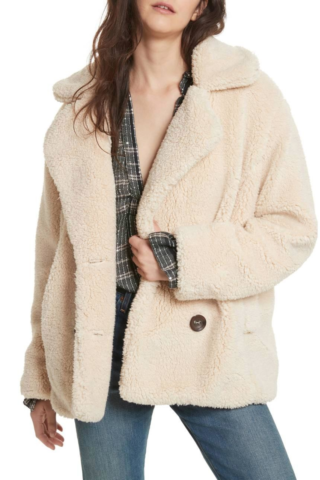 Free People Teddy Peacoat - Back Cropped Image