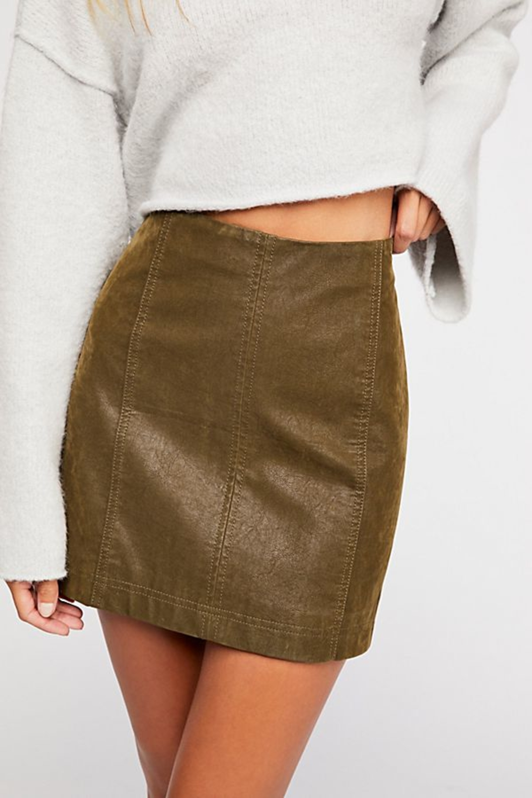 Free People Vegan Suede Skirt - Front Cropped Image