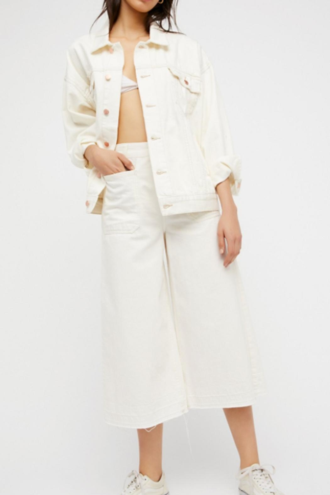 Free People White Denim Jacket - Back Cropped Image