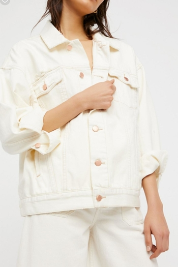 Free People White Denim Jacket from Georgia by Blessed ...