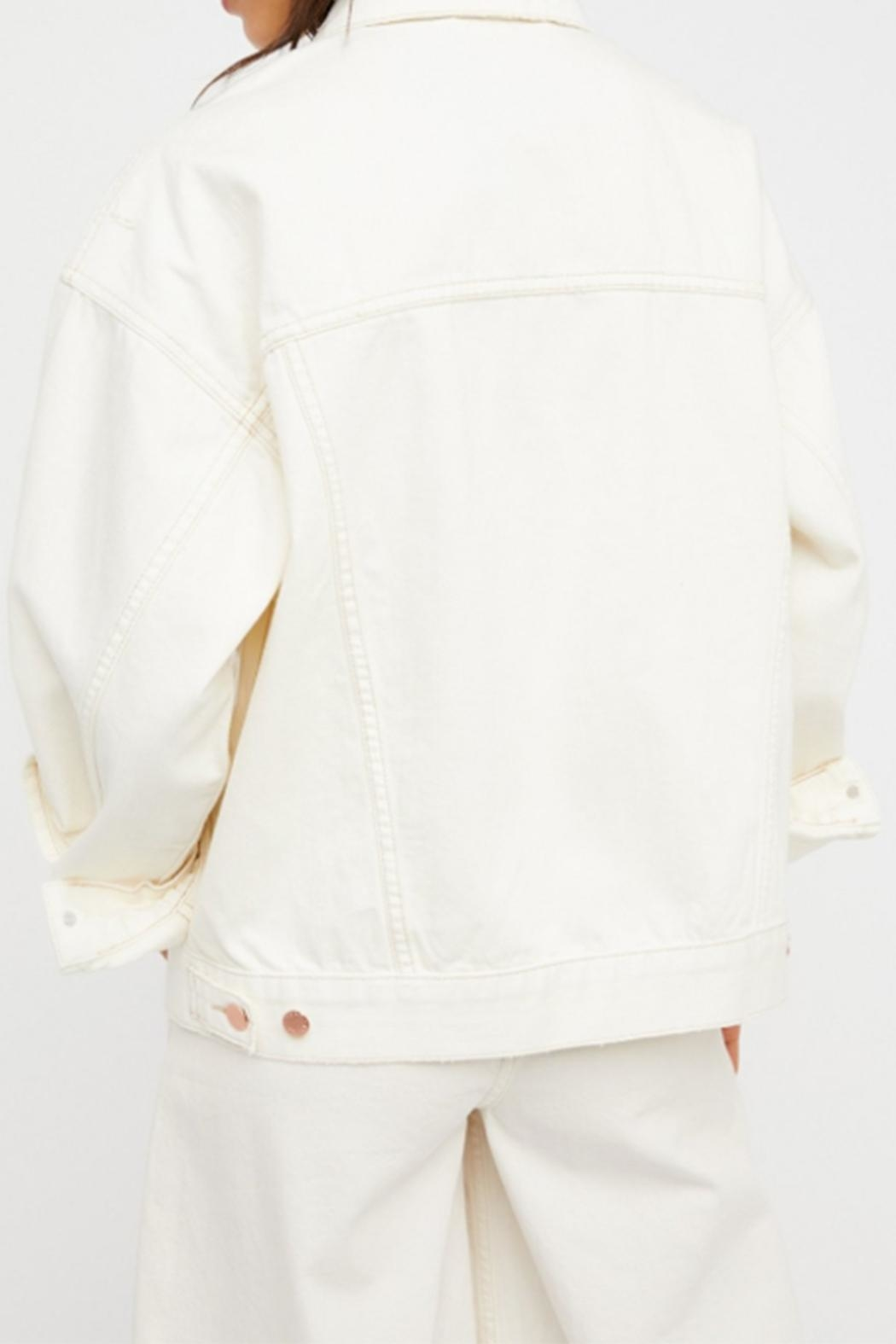 Free People White Denim Jacket - Front Full Image