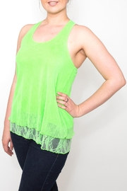 Free Style Lime Ruffle Tank - Front cropped