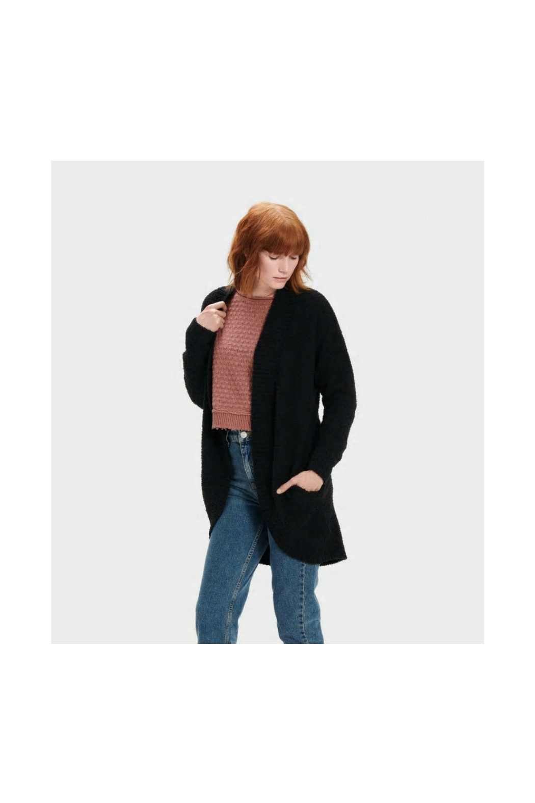 Ugg FREEMONT FLUFFY KNIT CARDIGAN - Front Cropped Image