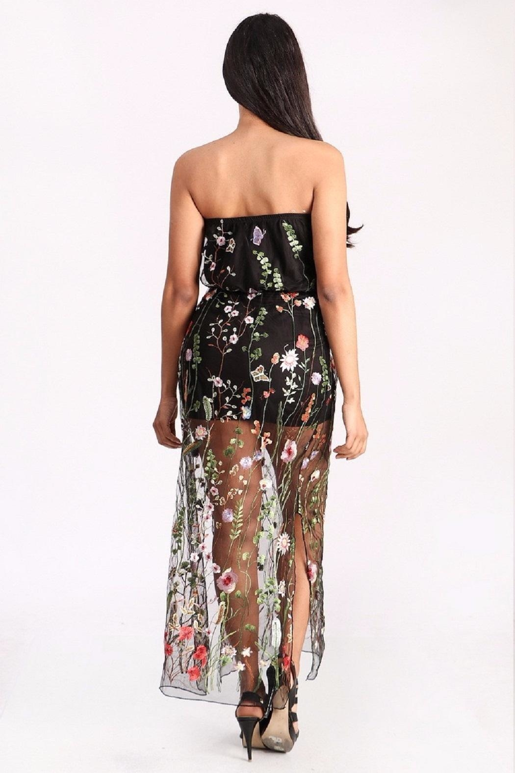Freesia Sheer Floral Maxi - Side Cropped Image