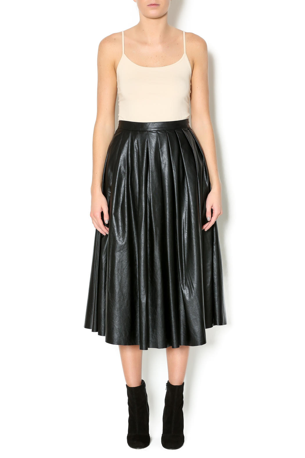 Freeway Faux Leather Skirt - Front Full Image
