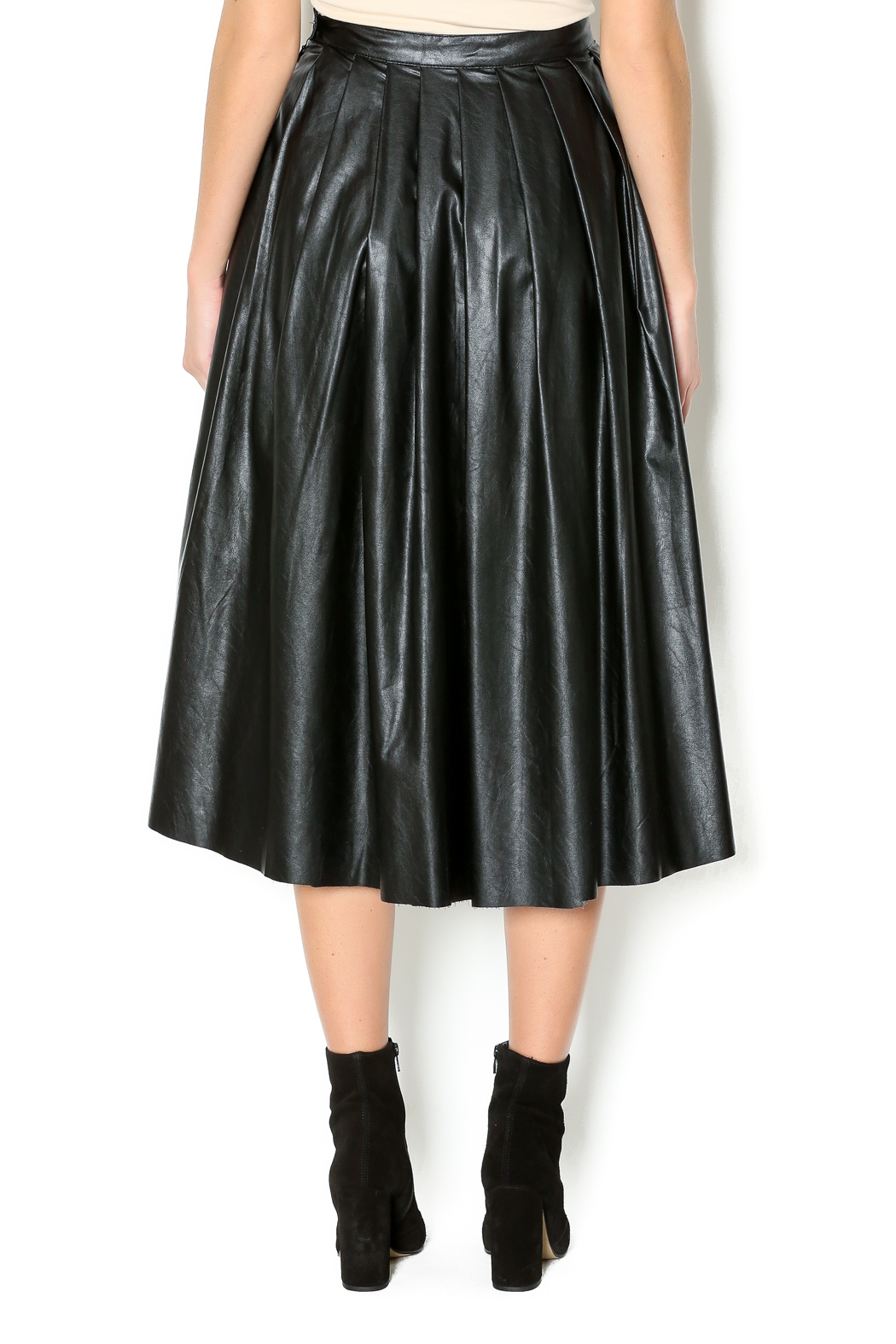 Freeway Faux Leather Skirt - Back Cropped Image