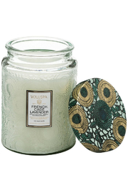 Voluspa French Cade Lavender Large Embossed Glass Jar Candle - Front cropped