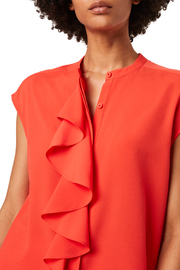 French Connection FRENCH CONNECTION CREPE RUFFLE TOP - Side cropped