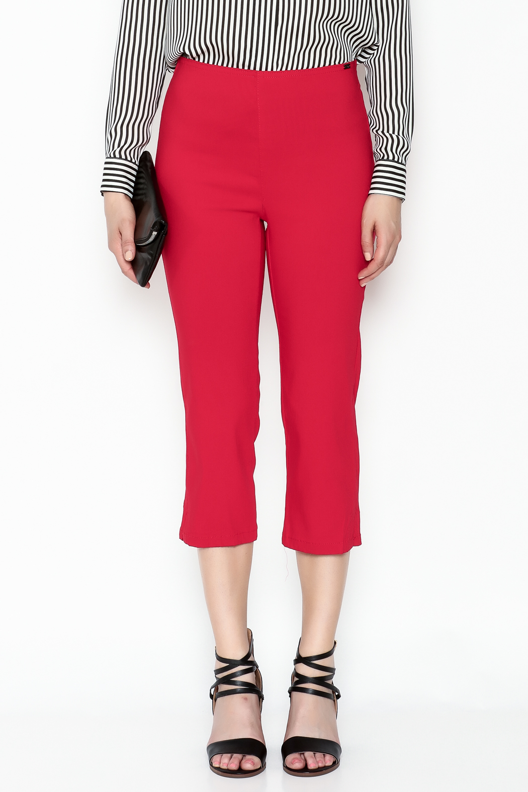 French Dressing Jeans Red Stretch Capri - Front Full Image