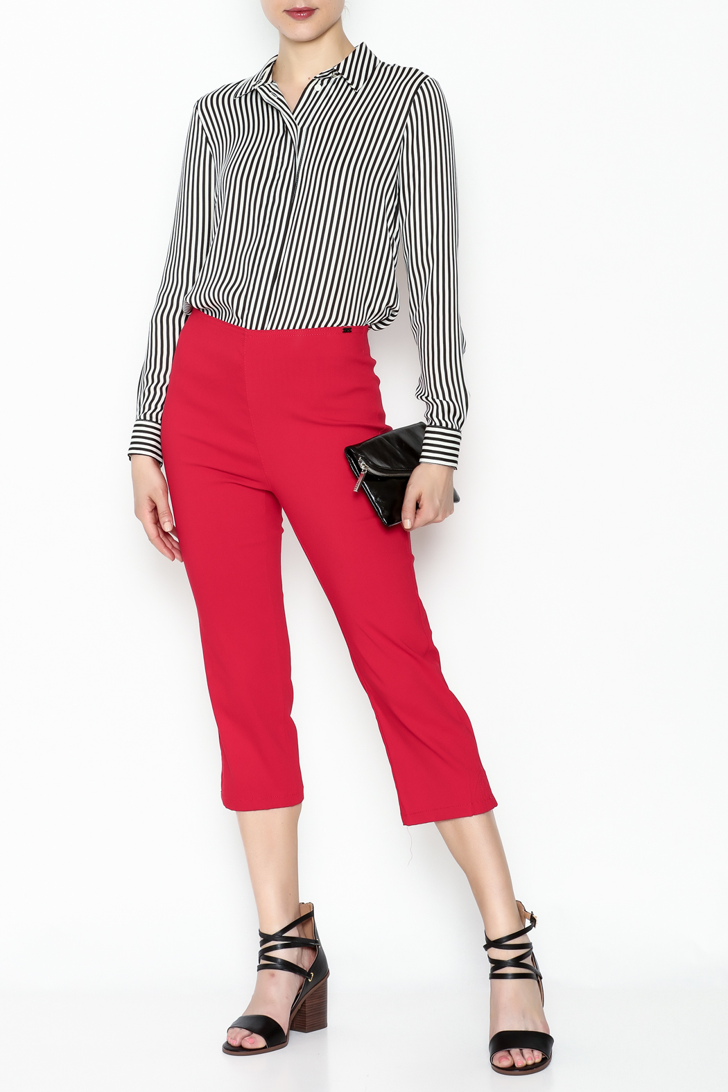 French Dressing Jeans Red Stretch Capri - Side Cropped Image